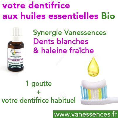 Dentifrice huiles essentielles bio synergie dents blanches et haleine fraiche