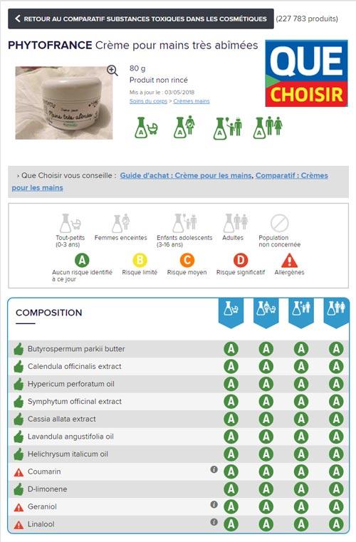 évaluation de la crème pour les mains abîmées par le magasine Que Choisir