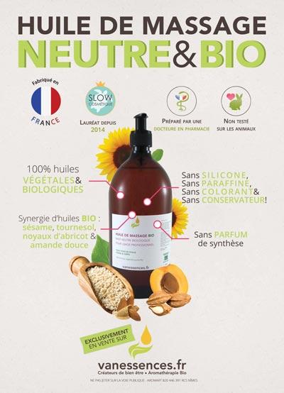 Huile de massage professionnelle base neutre végétale biologique